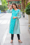 Zig Zag Patterned Maternity & Nursing Kurta - MOMZJOY.COM