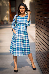 Saphire Blue Plaid Pintucks Maternity & Nursing Dress
