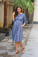 Shades of Blue Stripe Front Zip Maternity & Nursing Dress