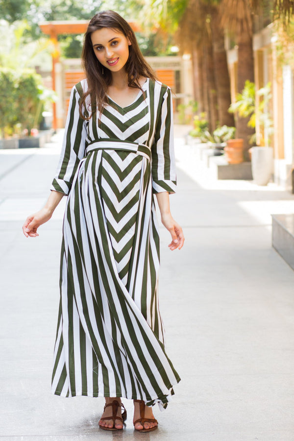 Olive Striped Maternity & Nursing Dress