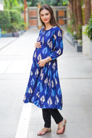 Merlot Maternity & Nursing Side Tie Kurta Dress - MOMZJOY.COM