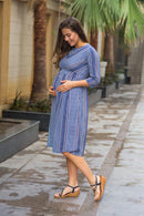 Shades of Blue Stripe Front Zip Maternity & Nursing Dress - MOMZJOY.COM