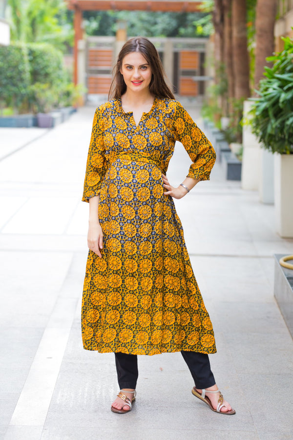Yellow Ombre Maternity and Nursing Kurta - MOMZJOY.COM