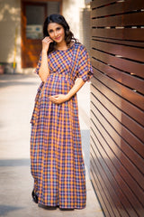 Luxe Chocolate Brown Plaid Maternity & Nursing Maxi