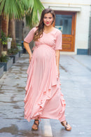 Serene Peach Maternity Flow Dress - MOMZJOY.COM