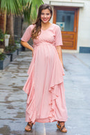 Serene Peach Maternity Flow Dress
