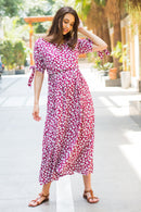 Berry Floral Maternity & Nursing Wrap Midi Dress - MOMZJOY.COM