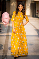 Daffodil Mustard Yellow Maternity & Nursing Crepe Wrap Dress - MOMZJOY.COM