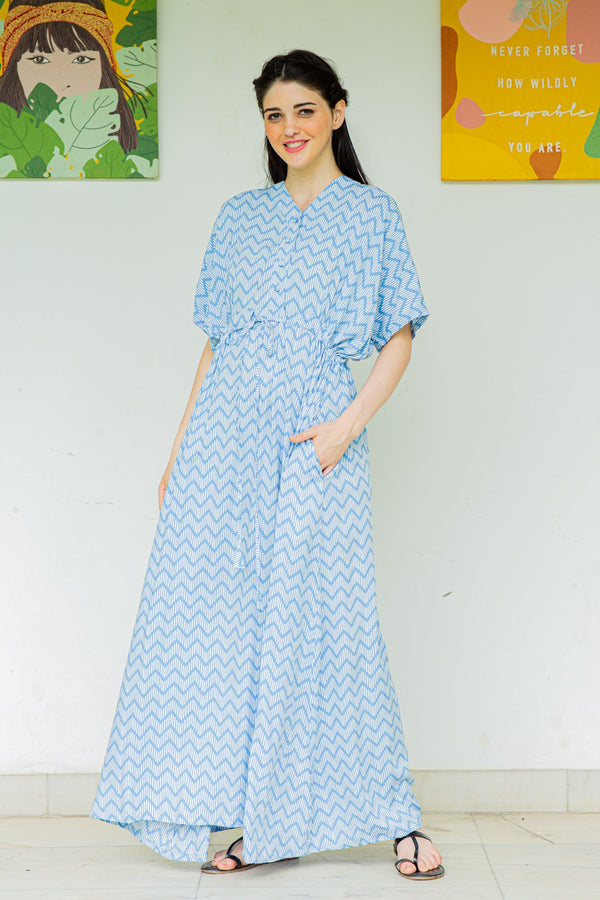Earthy Patterned Maternity & Nursing Dress / Delivery Gown/ Night Dress