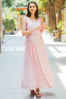 Pastel Pink Flair Maternity & Nursing Dress