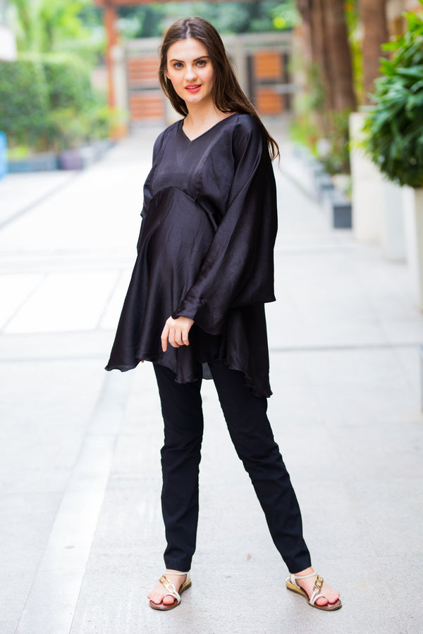 Black Satin Maternity & Nursing Top