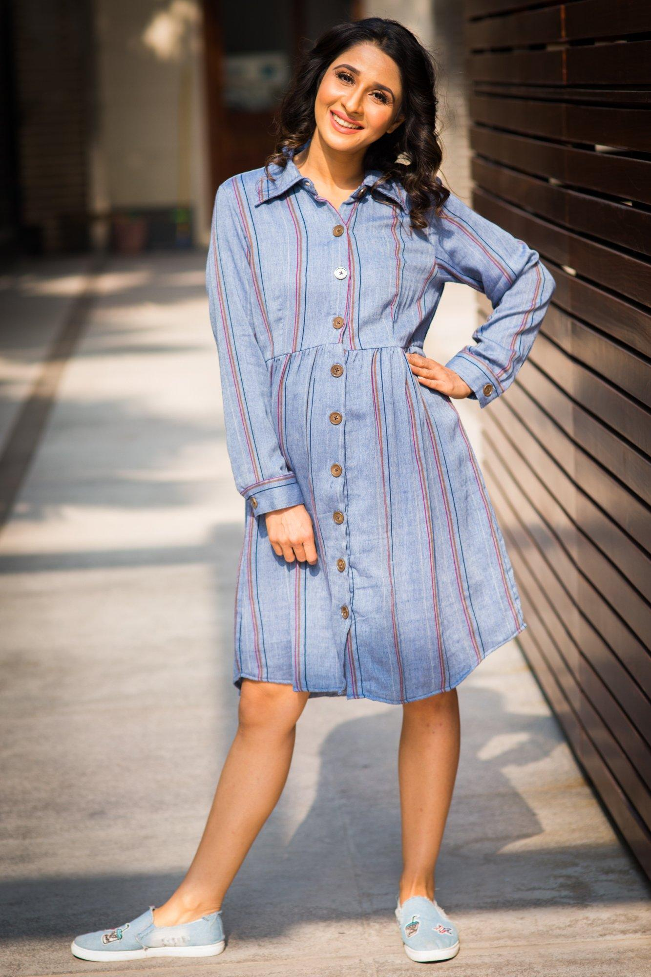 Buy online momzjoy maternity dresses pregnancy wear nursing clothes gathered denim stripe versatile maternity nursing shirt dress ombrellifo Image collections