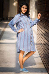 Gathered Denim Stripe Versatile Maternity & Nursing Shirt Dress