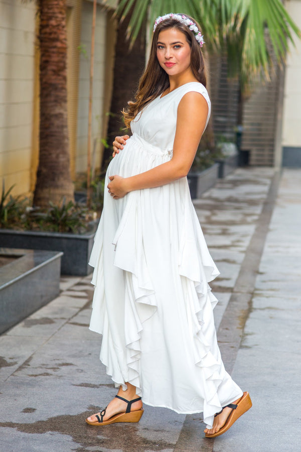 Pristine White Maternity Flow Dress