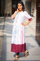 Maroon Dyed Shaded Maternity and Nursing Kurta