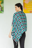 Aqua Pink Plaid Cotton Nursing Stole