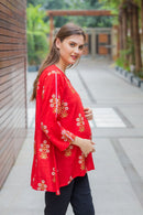 Ruby Red Gold Viscose Maternity & Nursing Top - MOMZJOY.COM
