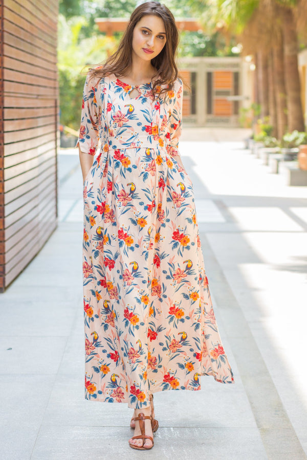 Peach Toucan Flair Maternity & Nursing Dress - MOMZJOY.COM