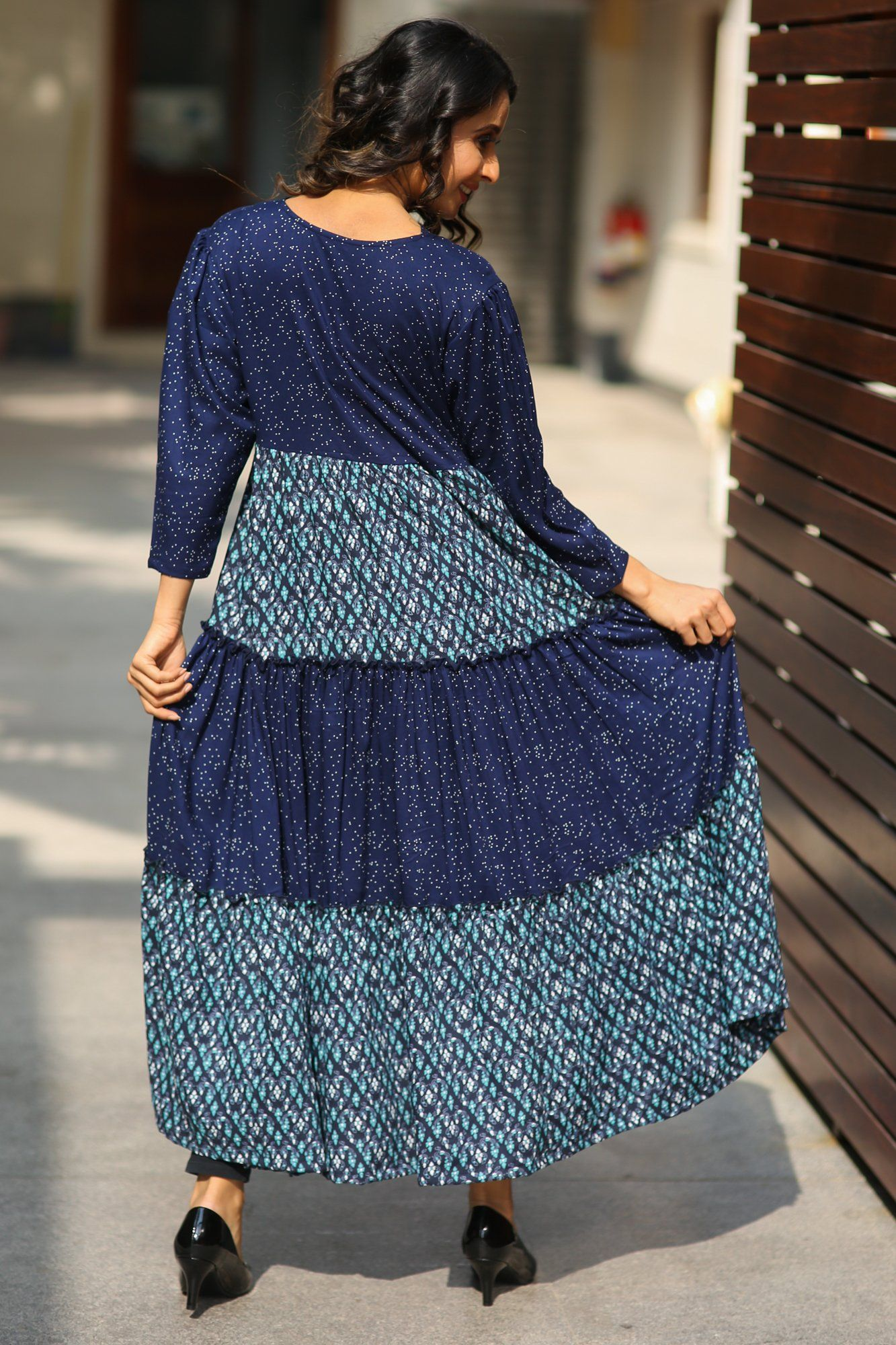 Printed Layered Long Maternity and Nursing Kurta