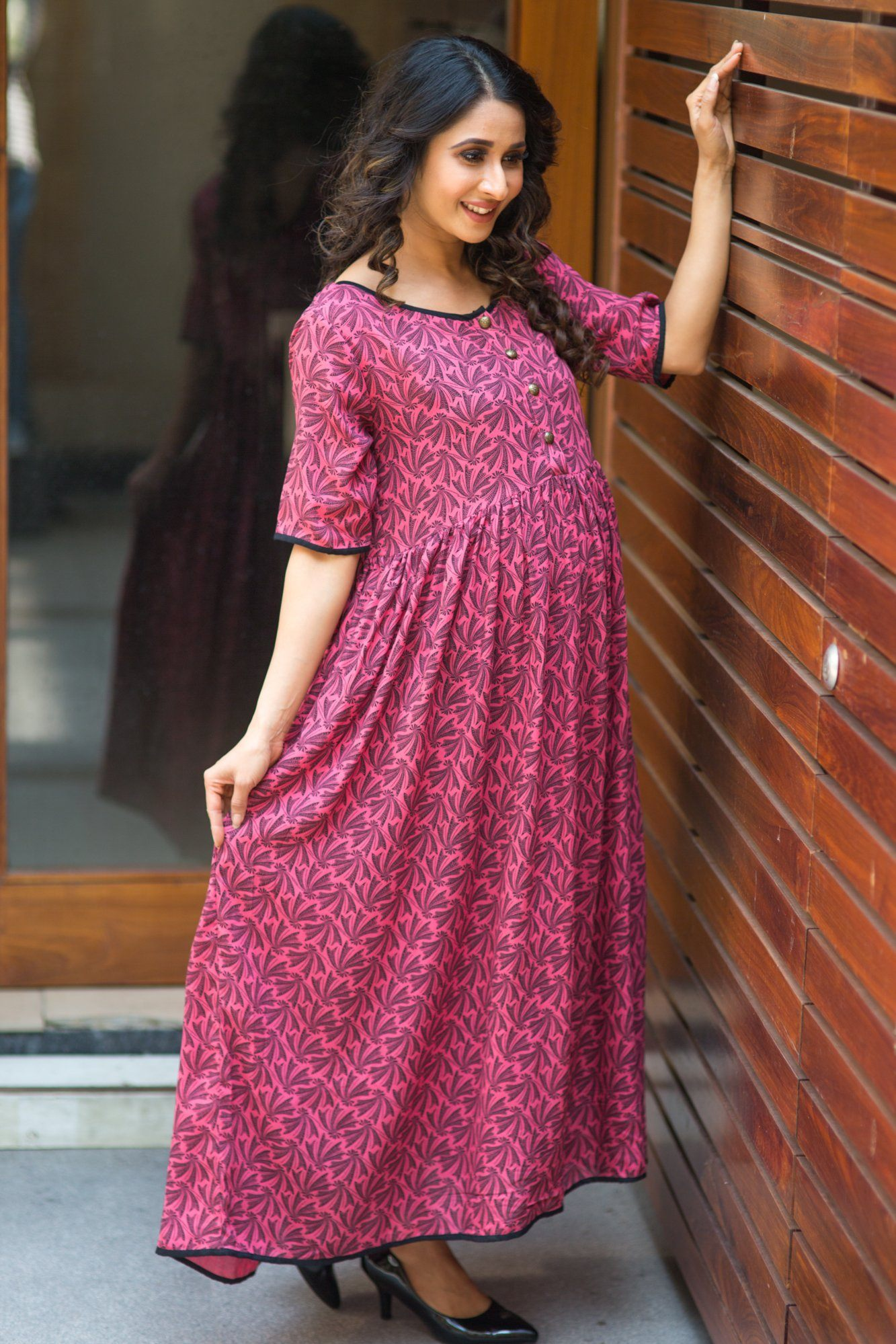 Pink Leaf Long Maternity and Nursing Kurta