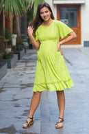 Lime Green Front Zip Maternity & Nursing Frill Dress