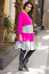 Versatile Grey Pink Layer Maternity Dress Top