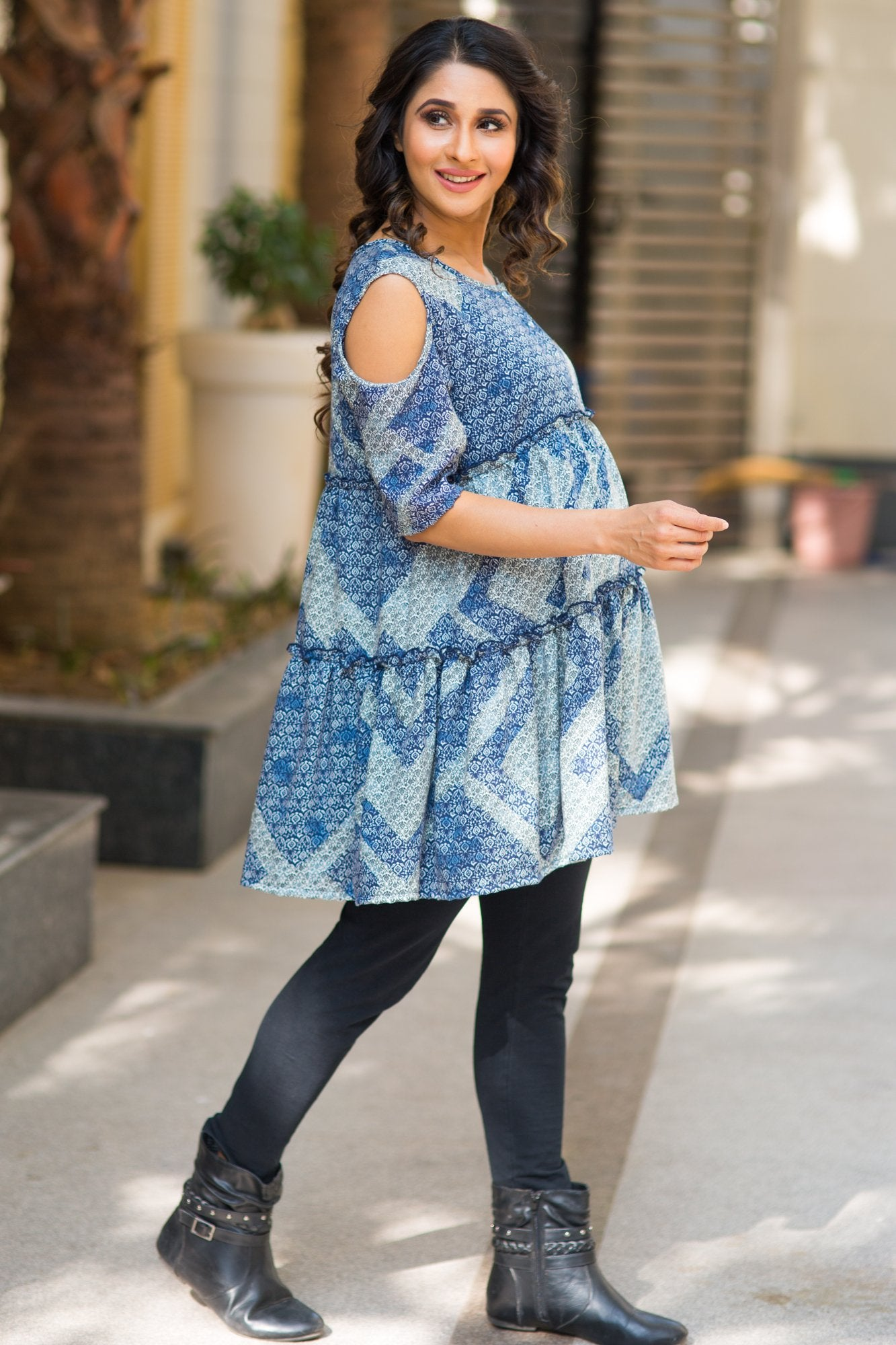 Baby Blue Layered Maternity & Nursing Top