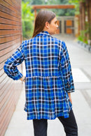 Deep Blue Check Gathered Maternity & Nursing Top