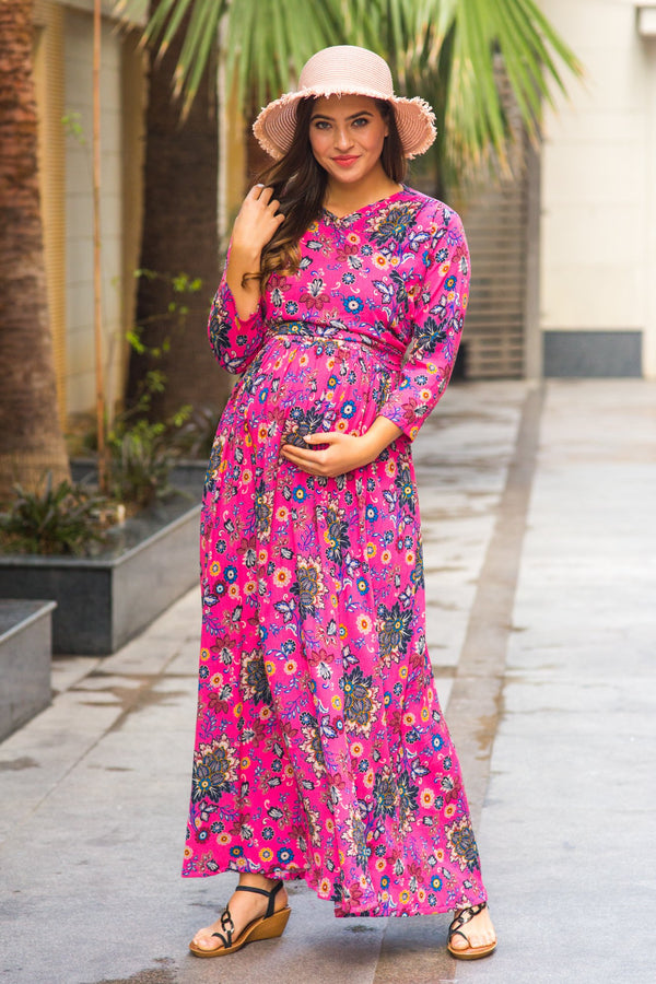 Taffy Pink Maternity & Nursing Wrap Dress