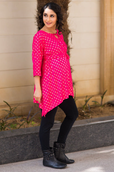 Festive Pink Maternity Top - MOMZJOY.COM