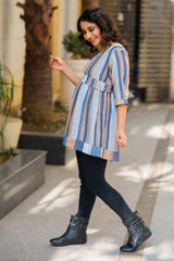 Royal Stripe Maternity & Nursing Top