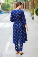 Set of 2 - Indigo Gold Contrasting Nursing Kurta + Bump Band Bottom