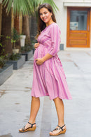 Mulberry Pink Stripe Front Zip Maternity & Nursing Dress