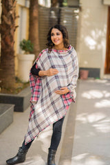 2 in 1 Double Sided Rose Pink Plaid Nursing Stole