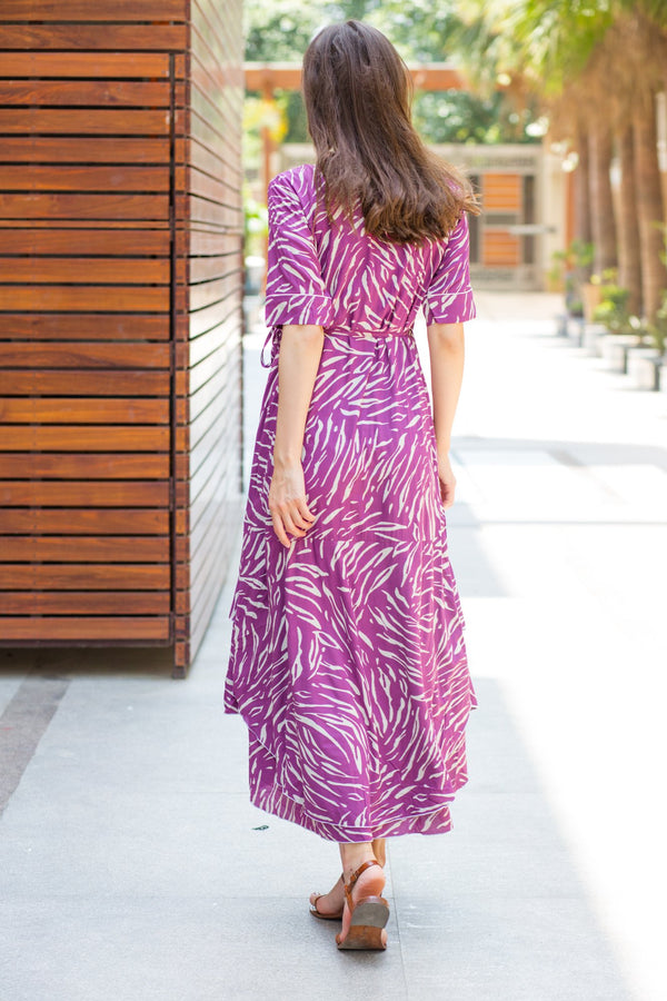 Violet Print Maternity & Nursing Flair Dress