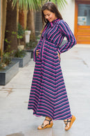 Unique Striped Neck Tie Bishop Sleeve Maternity & Nursing Dress - MOMZJOY.COM