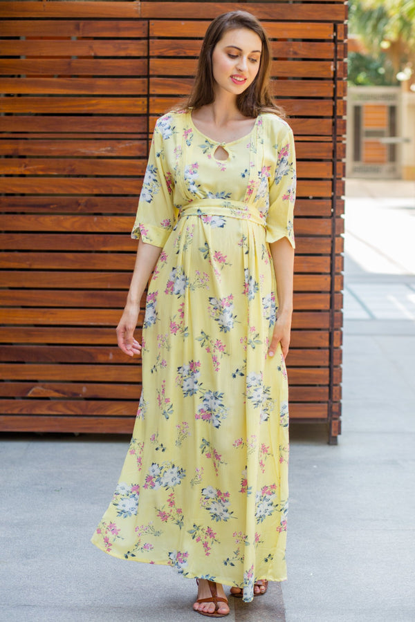 Pastel Yellow Flair Maternity & Nursing Dress - MOMZJOY.COM
