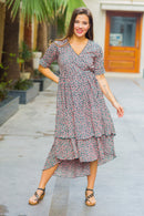 Peachy Pattern Maternity & Nursing Flair Dress - MOMZJOY.COM