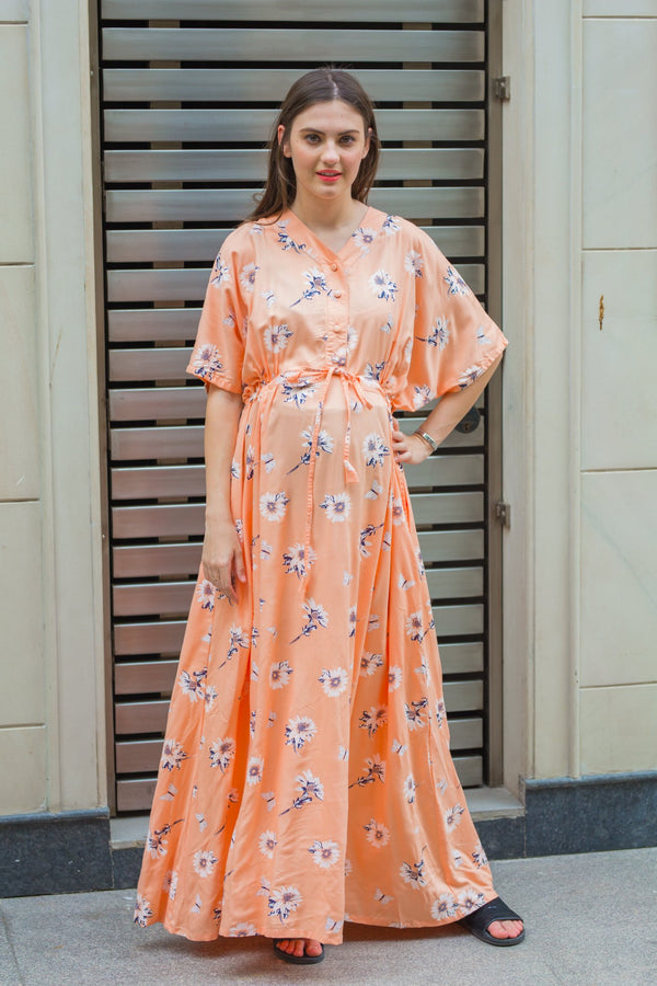 Floral Peachy Maternity & Nursing Dress / Delivery Gown/ Night Dress - MOMZJOY.COM