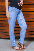 Classic Blue Striped Over Bump Pants - MOMZJOY.COM
