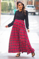 Classic Black Red Plaid Maternity & Nursing Wrap Dress