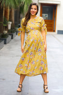 Marigold Maternity & Nursing Wrap Midi Dress