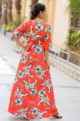 Cuban Orange Floral Maternity & Nursing Wrap Dress