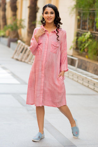 Classic Red Stripe Versatile Maternity & Nursing Shirt Dress