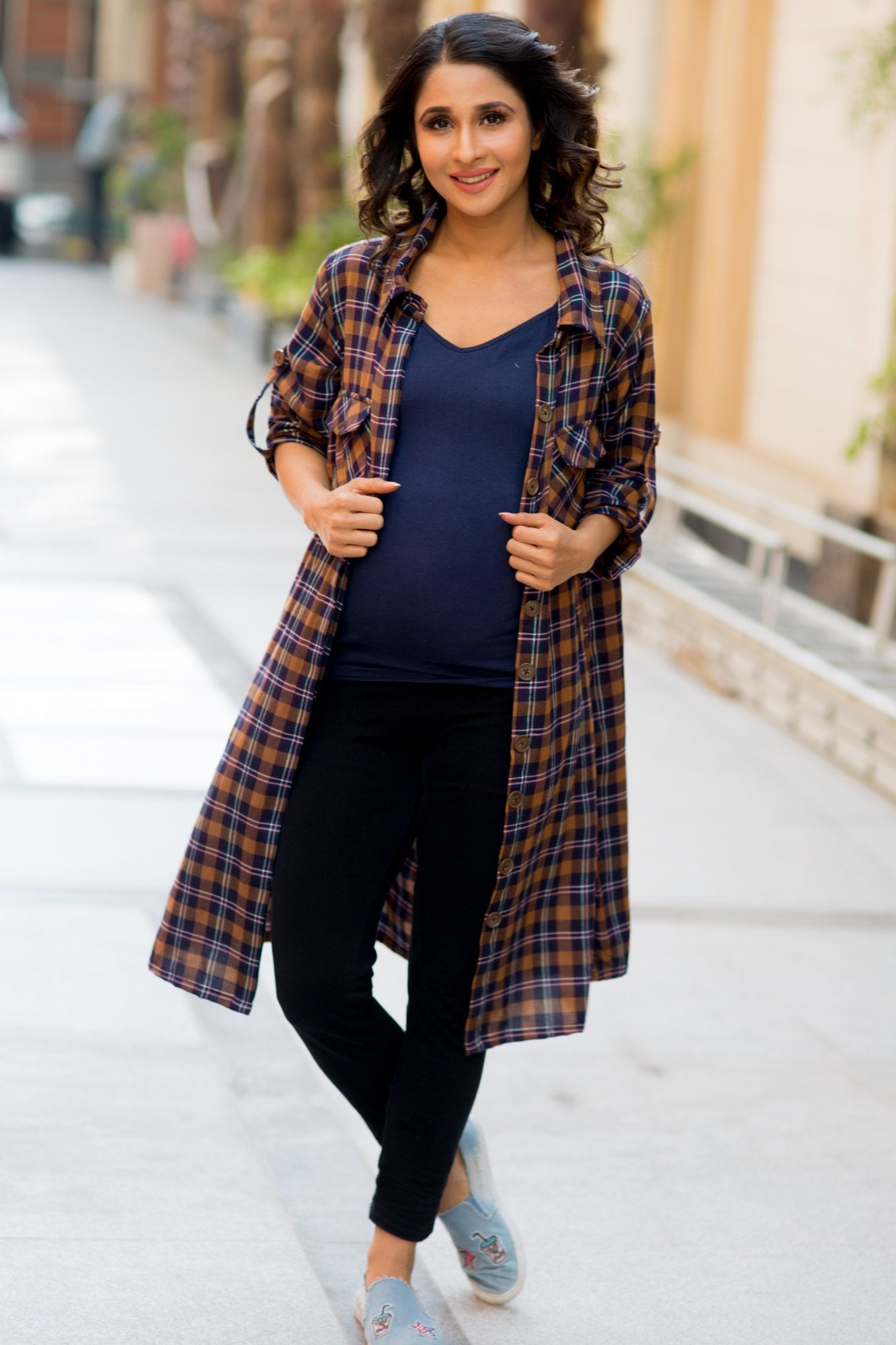 Coffee Brown Plaid Maternity & Nursing Shirt Dress - MOMZJOY.COM