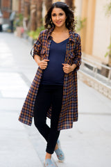 Coffee Brown Plaid Maternity & Nursing Shirt Dress