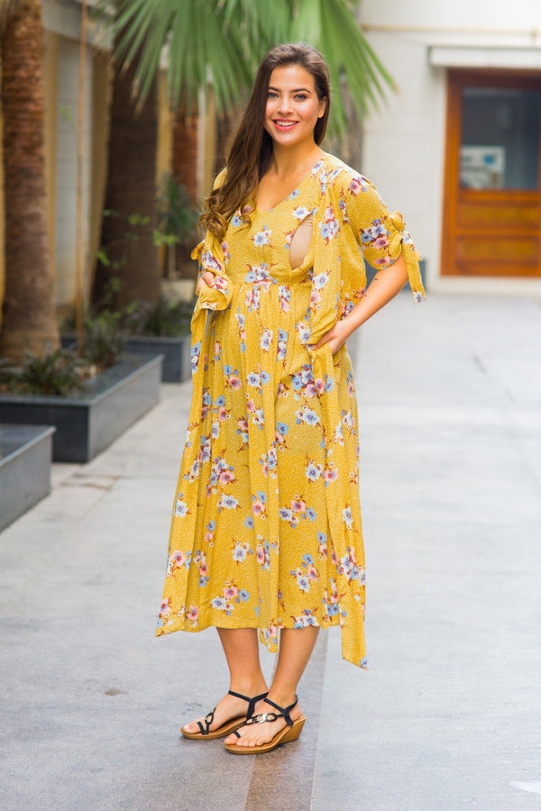 Marigold Maternity & Nursing Wrap Midi Dress - MOMZJOY.COM