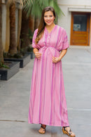 Kimono Carnation Stripe Maternity & Nursing Dress / Delivery Gown/ Night Dress