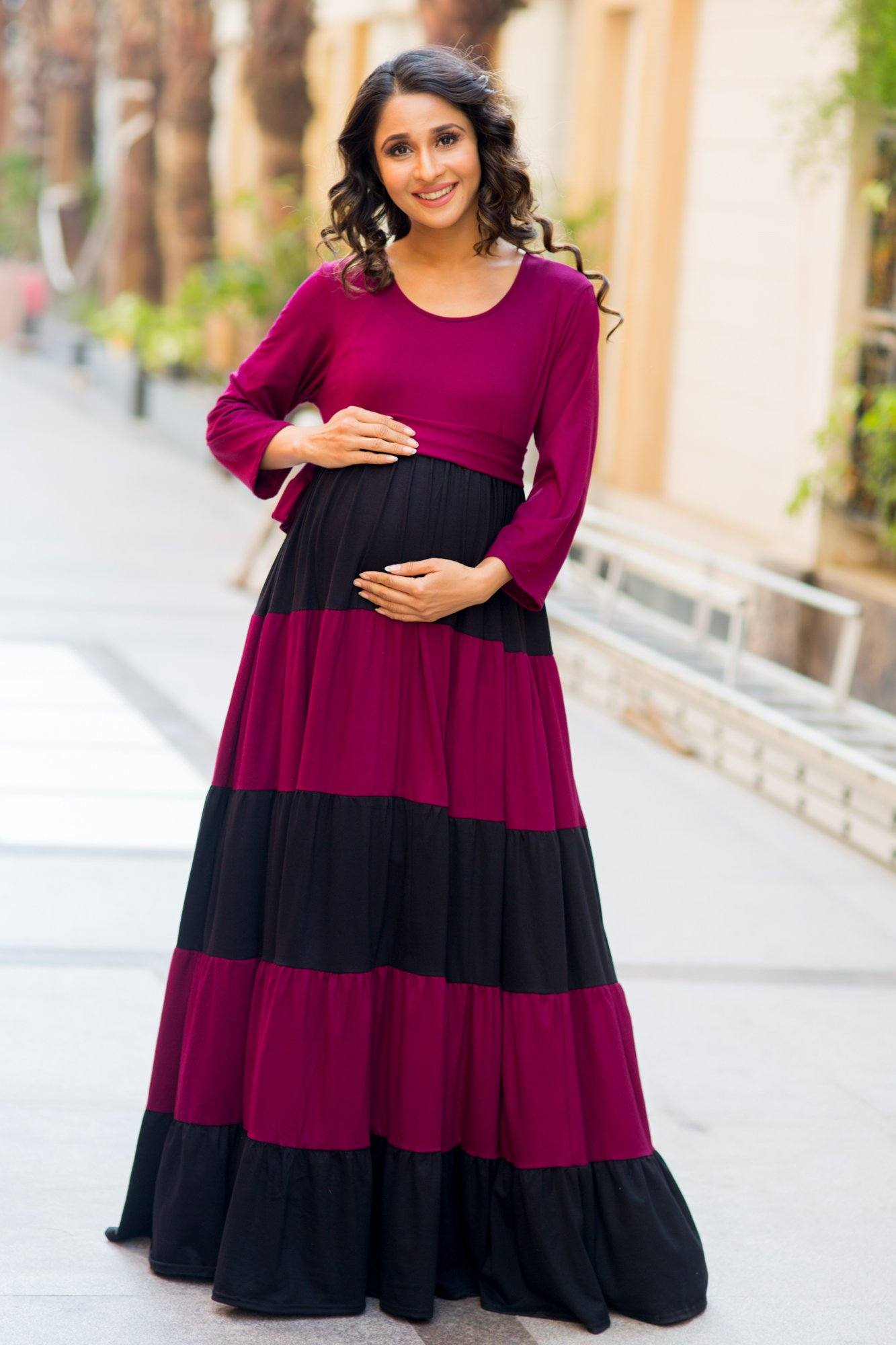 Buy maternity tops pregnancy clothes online india rich maroon black layer maternity dress ombrellifo Choice Image