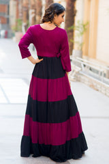 Rich Maroon & Black Layer Maternity Dress